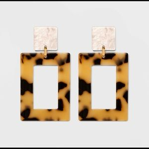 Clear acrylic hoop earrings - Tortoise Two-Tone